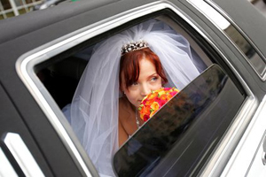 White Hummer hire wedding limousine